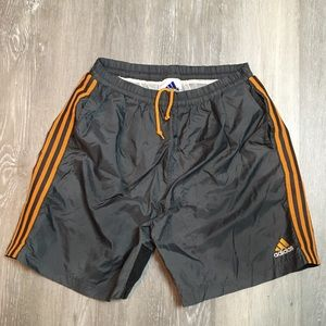 Vintage adidas striped spell out logo swim trunks